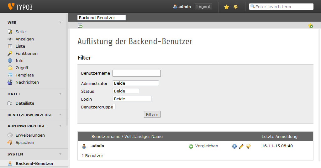 TYPO3 Backend User