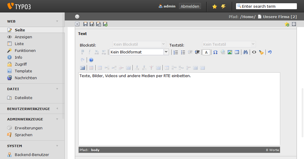 TYPO3 Rich Text Editor (RTE)