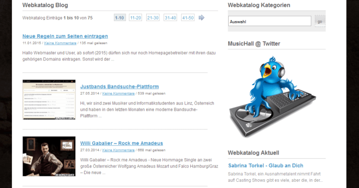 Musik Webkatalog Content
